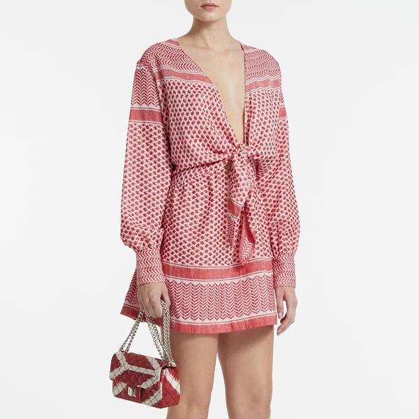 Vestido Knott blanco y rojo - ROUGH STUDIO